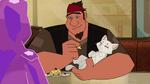 Carl feeds cat