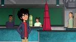 Hiro looks at his building