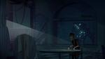 Obake sits in the dark