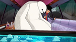 Baymax and Hiro in limo