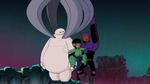 Hiro and Wasabi save Baymax