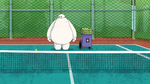 Baymax looks at ball