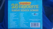 The 2011 reprinted back cover of VeggieTales 25 Favorite Sunday School Songsd! includes a list of songs from the hit VeggieTales Albums and Videos