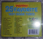 The 2012 reprinted back cover of VeggieTales 25 Favorite Very Veggie Tunes includes a list of songs from the hit videos
