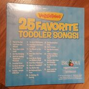 The 2011 reprinted Back cover of VeggieTales 25 Favorite Toddler Songs! includes a list of Songs from Bob and Larry's Toddler Songs, On the Road with Bob and Larry, Junior's Bedtime Songs and More!