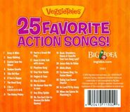 The Original 2010 Back cover of VeggieTales 25 Favorite Action Songs! Includes a list of Songs from Josh And The Big Wall, Pirates's Boat Load of Fun, O Veggie, Where Are Thou? And more