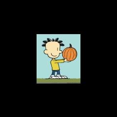 Nate holding a pumpkin.