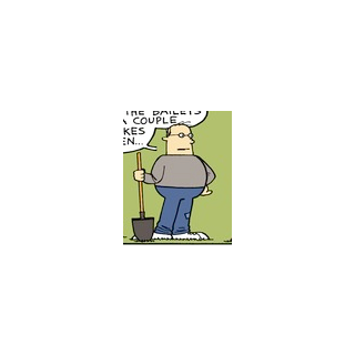 Don Eustis holding a shovel.