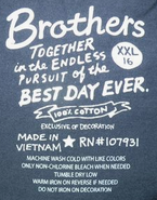 Brothers together script label (size 16)