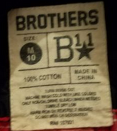 Brothers B11 label (size 10)