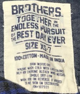 Brothers together label (size 7)