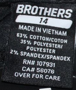 Brothers italicized shorts tag (size 14)