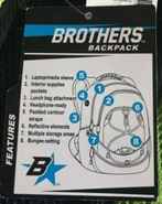 Brothers backpack tag