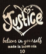 Justice believe in yourself label (size 10)