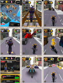 Collage of screenshots of Biker Mice Game