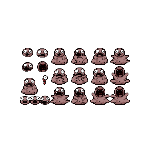 Peep's sprite sheet for <i>Rebirth</i>.