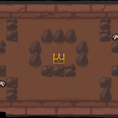 Multiple rock cages, with a golden chest in the center and two Hoppers in opposing corners.