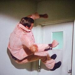 Steve takes down a steel door