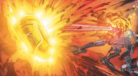 Comic Hydraxon Fires at Kanohi Ignika