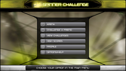 Rhotuka Spinner Challenge Main Screen