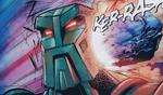 Historieta Teridax siendo Golpeado por un Fragmento de Aqua Magna
