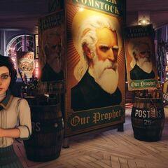 Elizabeth junto a un cartel de Comstock