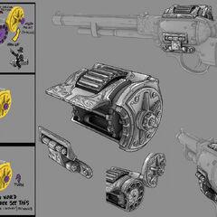 <i>Diseños descartados para una posible mejora de recarga para el arma.</i>