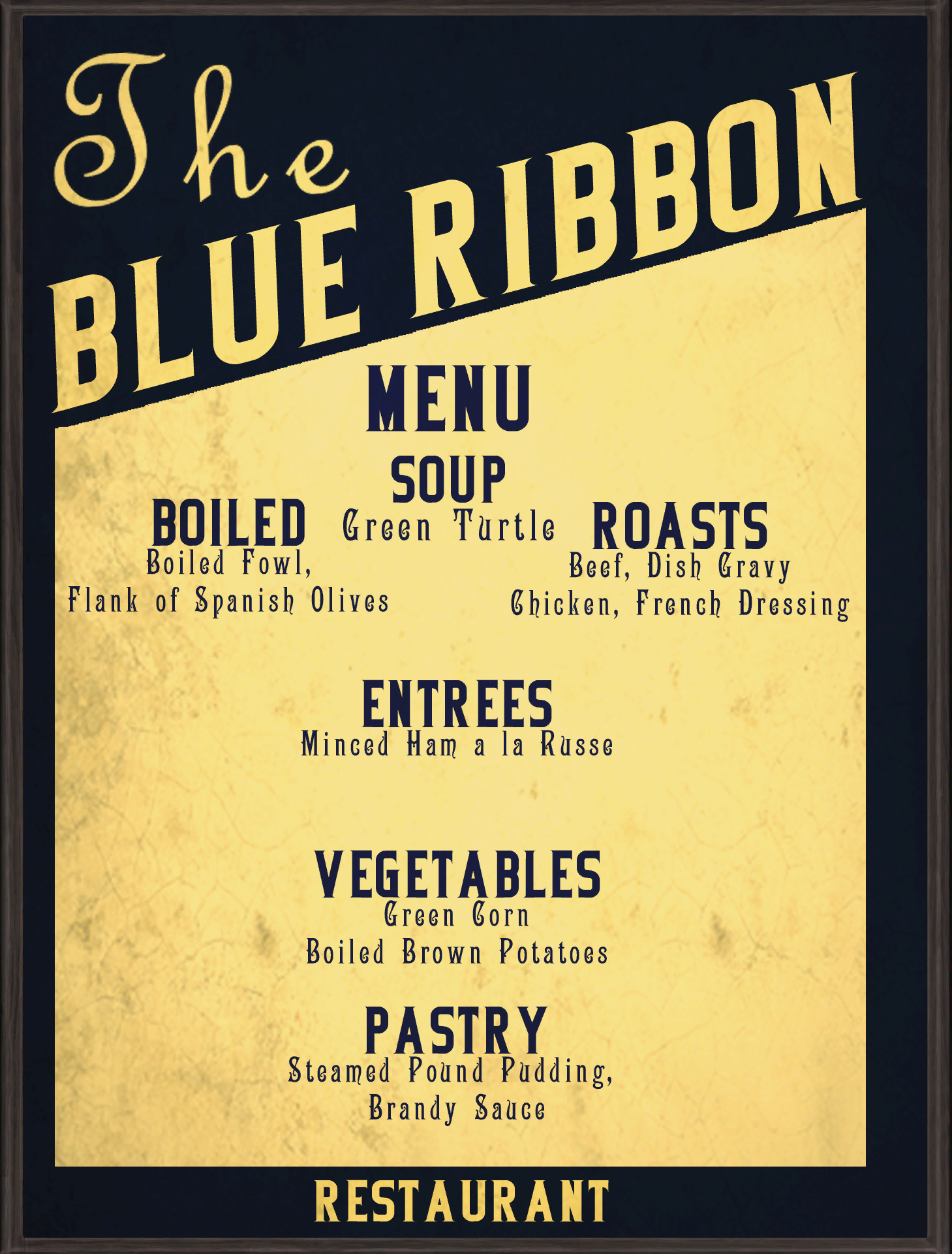 blue ribbon menupng - Blue Restaurant 2015