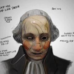 Ilustración conceptual de la máscara de cerámica puesta en la cabeza del Patriota