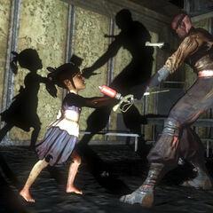 <i>El Superviviente forcejeando con una Little Sister en la demo de BioShock 2.</i>