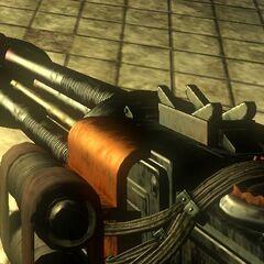 <i>BioShock 2</i> içindeki Makineli Tüfek, tüm üç yükseltme ile.