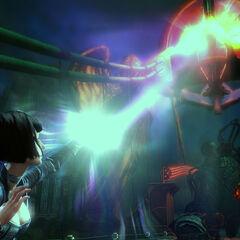 Elizabeth manipulando metal en la demo de Gamescom de 2010.