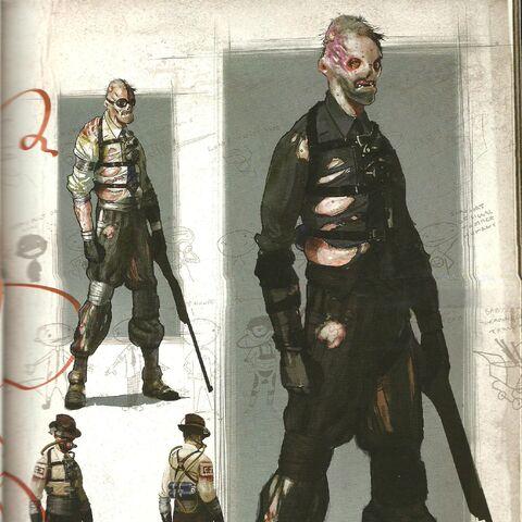 <i>Boceto ilustrativo del Superviviente, rediseñado como un splicer.</i>