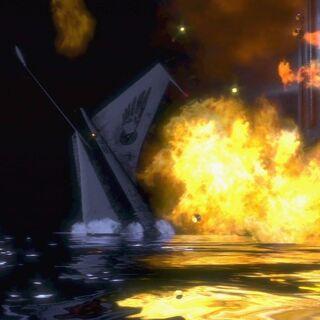 El Apollo en llamas, estrellado cerca del faro.