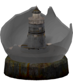 Broken lighthouse snow globe
