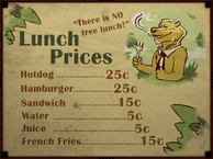 Preparatory Academy Lunch menu poster