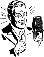 Radio Announcer Clip Art Meal-Time Frozen Dinners Ad