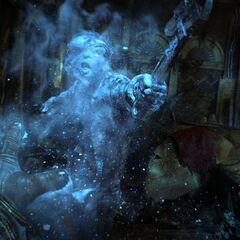 <i>Toasty, bajo los efectos de Ráfaga invernal, visto en uno de los trailers de BioShock 2.</i>