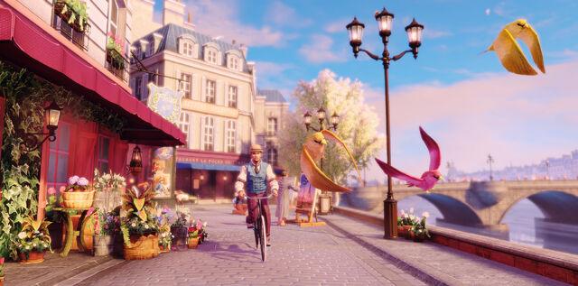 File:Man Cycling Along Birds In Paris.jpg