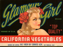 Glamour Girl California Vegetables Fruit Crate Label - Oxford Club