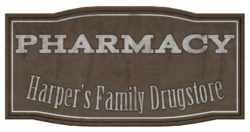 Harper's Family Drugstore sign