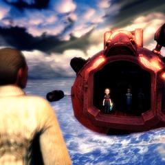 <i>Jack espera en el faro la llegada de las Little Sisters rescatadas.</i>
