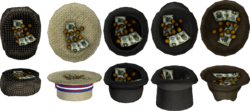 Hats with coin and bill tips