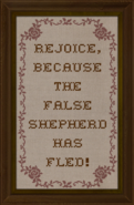 Cross-stitch Rejoice Because the False Shepherd has Fled