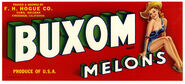 Buxom Melons fruit crate label