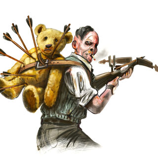 <i>Diseño del splicer ballestero, con un oso de peluche en su espalda.</i>