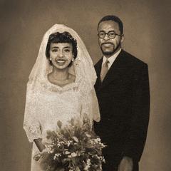 Foto de su boda con Pearl.