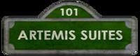 Artemis Suites Street Sign