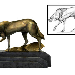 <i>Diseño conceptual de la escultura de un lobo.</i>