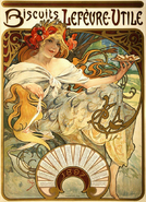 Alphonse Mucha - Biscuits Lefèvre-Utile Poster 1897